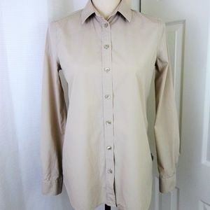 Burberry London Solid Beige Fitted Button Shirt 4